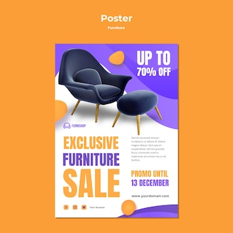 Modèle d'affiche de vente de meubles