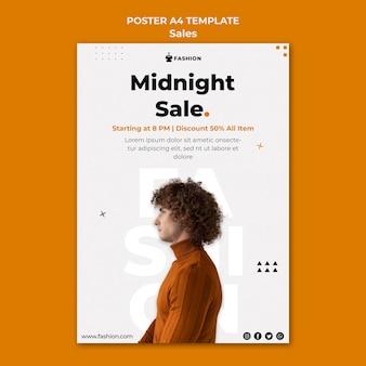 Modèle d'affiche de vente de minuit