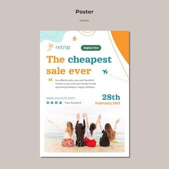 Modèle d'affiche de vente la moins chère de vacances