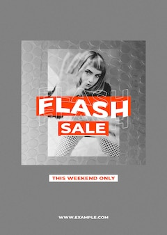 Modèle d'affiche de vente psd avec fond de couleur rétro pour le concept d'influenceurs de mode et de tendances
