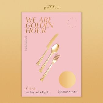 Modèle d'affiche vertical pour or luxueux