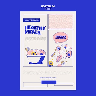 Modèle d'affiche vertical pour des repas sains