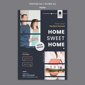 Modèle d'affiche vertical pour trouver la maison parfaite