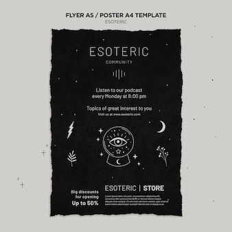 Modèle d'affiche verticale d'artisanat ésotérique