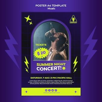 Modèle d'affiche verticale au néon pour le concert de nuit d'été
