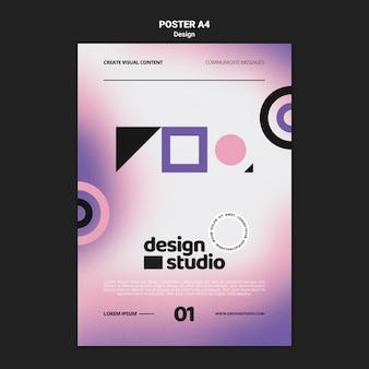 Modèle d'affiche verticale géométrique pour studio de design