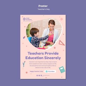 Modèle d'affiche verticale de la journée des enseignants