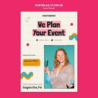 Modèle d'affiche verticale de planificateur d'événements