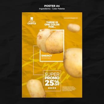 Modèle d'affiche verticale avec pomme de terre