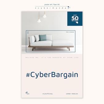 Modèle d'affiche verticale pour les achats du cyber lundi
