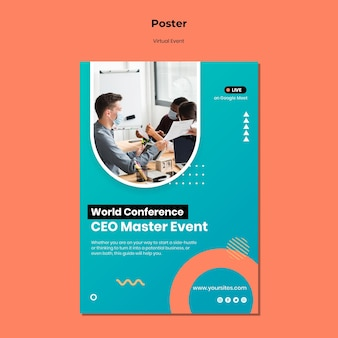 Modèle d'affiche verticale pour la conférence d'événement de maître