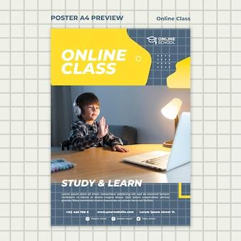 Modèle d'affiche verticale pour les cours en ligne avec enfant