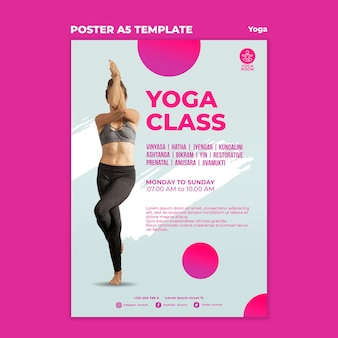 Modèle d'affiche verticale pour cours de yoga avec femme