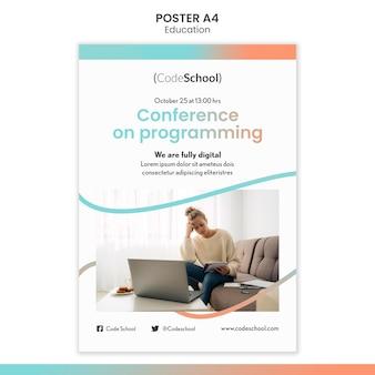 Modèle d'affiche verticale pour l'école de programmation en ligne