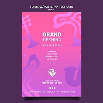 Modèle d'affiche verticale pour festival et club de jazz