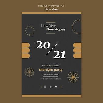 Modèle d'affiche verticale pour la fête du nouvel an à minuit