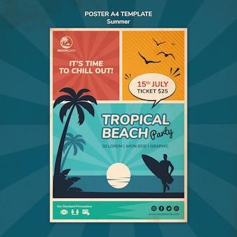 Modèle d'affiche verticale pour une fête à la plage tropicale