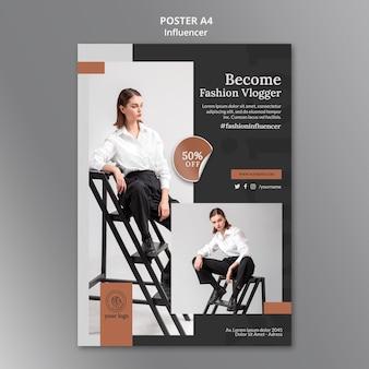 Modèle d'affiche verticale pour une influenceuse de médias sociaux