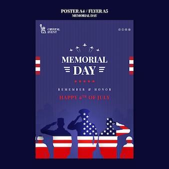 Modèle d'affiche verticale pour la journée commémorative des états-unis
