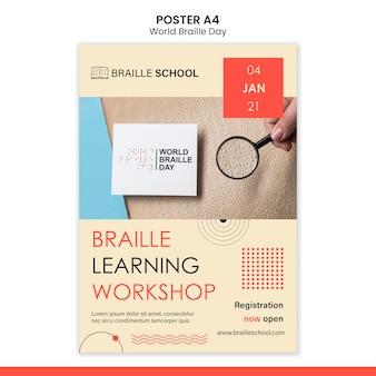 Modèle d'affiche verticale pour la journée mondiale du braille