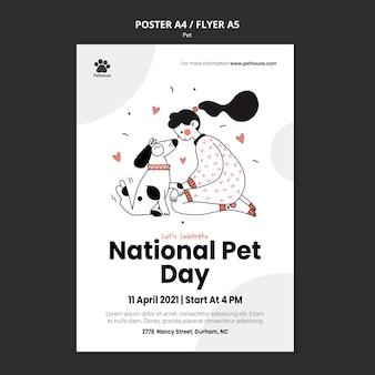 Modèle d'affiche verticale pour la journée nationale des animaux de compagnie avec propriétaire et animal de compagnie