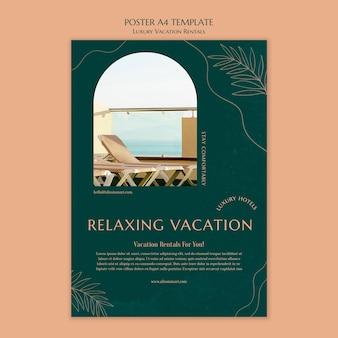 Modèle d'affiche verticale pour les locations de vacances de luxe