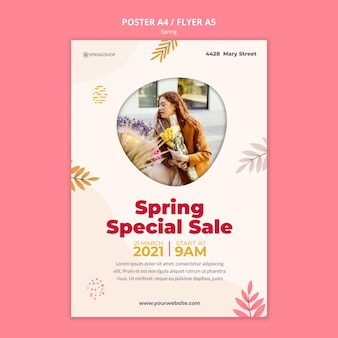Modèle d'affiche verticale pour magasin de fleurs avec des fleurs de printemps