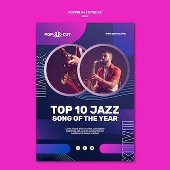 Modèle d'affiche verticale pour la musique avec un joueur de jazz masculin et un saxophone