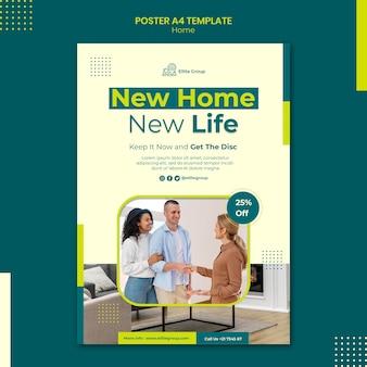 Modèle d'affiche verticale pour la nouvelle maison familiale