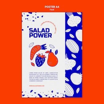 Modèle d'affiche verticale pour la puissance de la salade
