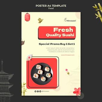 Modèle d'affiche verticale pour restaurant de cuisine japonaise