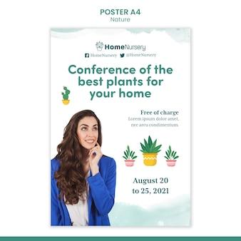 Modèle d'affiche verticale pour les soins des plantes d'intérieur avec une femme