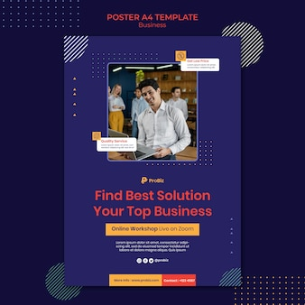 Modèle d'affiche verticale pour les solutions d'affaires professionnelles
