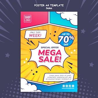 Modèle d'affiche verticale pour les ventes dans un style bande dessinée