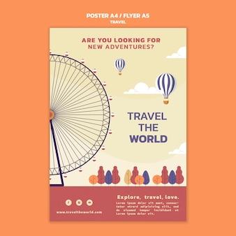 Modèle d'affiche verticale de voyage dans le monde