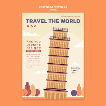 Modèle D'affiche Verticale De Voyage Dans Le Monde Psd gratuit