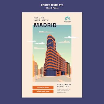 Modèle d'affiche de villes et de lieux