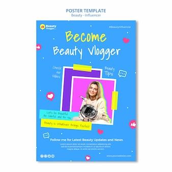 Modèle d'affiche de vlogger de beauté