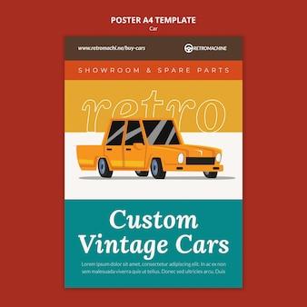Modèle d'affiche de voitures anciennes personnalisées