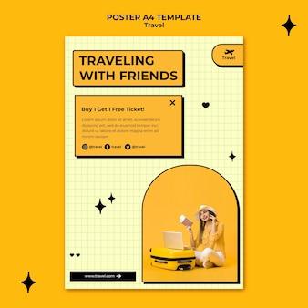 Modèle d'affiche de voyage avec des amis