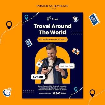 Modèle d'affiche de voyage dans le monde entier