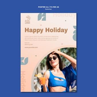 Modèle d'affiche de voyage d'été