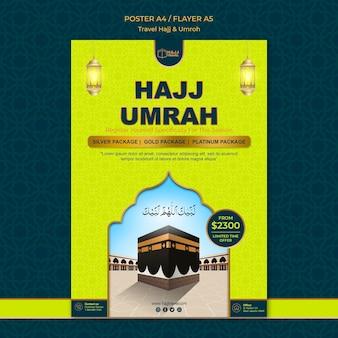 Modèle d'affiche de voyage hajj et omra