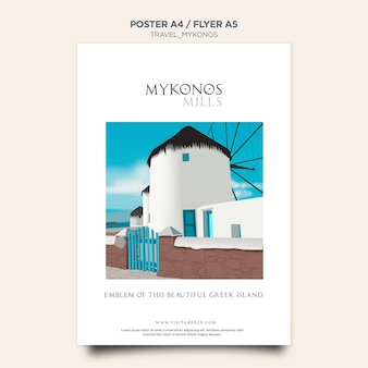 Modèle d'affiche de voyage mykonos