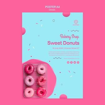 Modèle d'affiche vue de dessus de beignets roses