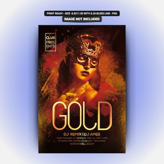 Modèle d'affiches de fête avec gold teamplete