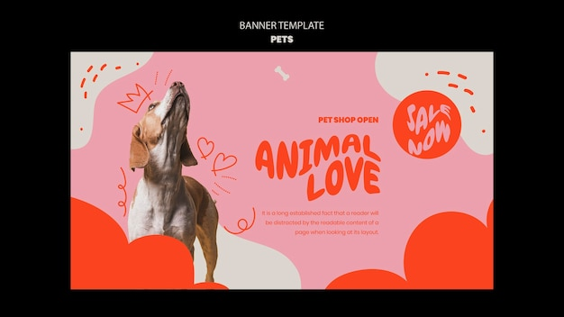 Modèle d'animaux de compagnie de conception de bannière