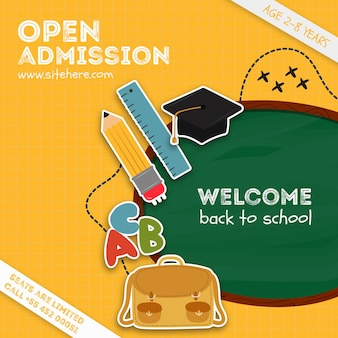 Modèle d'annonce d'admission ouverte colorée