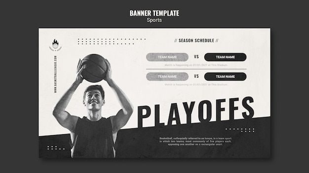Modèle d'annonce de basket-ball de bannière