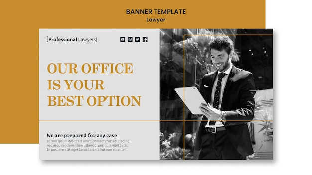 Modèle d'annonce de cabinet d'avocats bannière